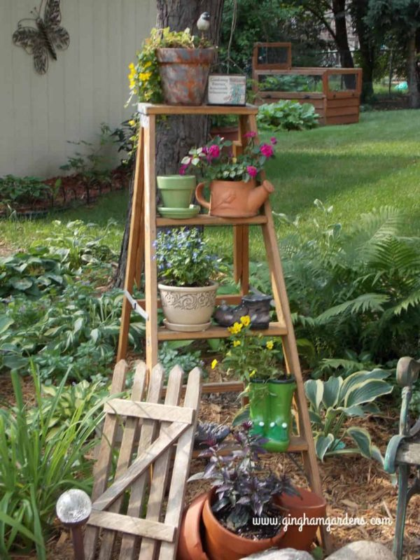 Old ladder used in garden vignette