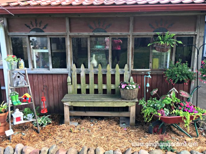 Junk Garden with Ladder, Bench & Wheelbarrow Planter
