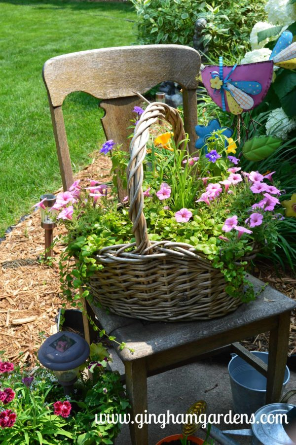 Old Chair With A Cute Basket of Flowers