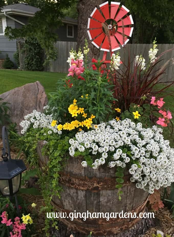 Whiskey Barrel Planter Vignette - Flower Garden Makeover - After