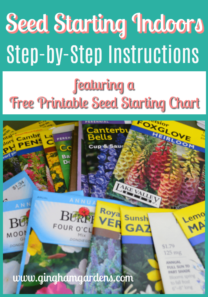 Seed Starting Indoors - Free Printable Seed Starting Chart