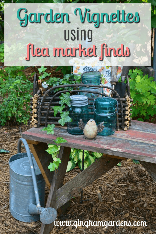 Cute Garden Vignette With Vintage Mason Jars