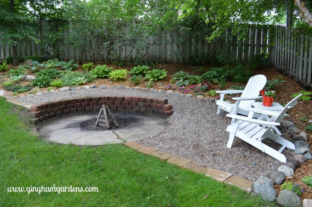 Shade Garden Makeover with Fire Pit - After