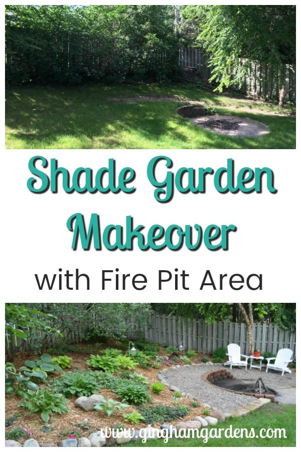Shade Garden Makeover with Fire Pit Area