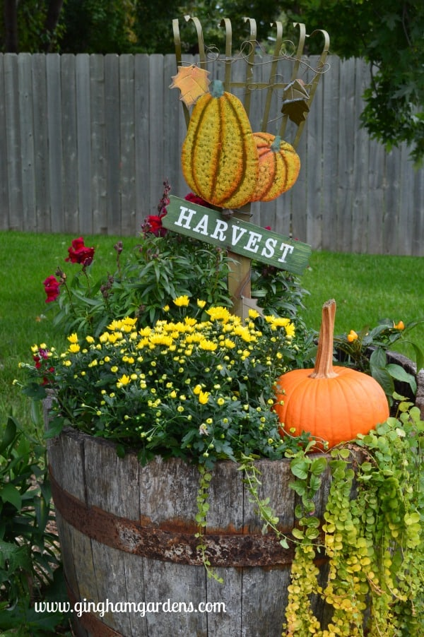 Fall Whiskey Barrel Planter