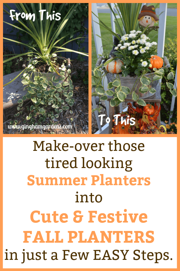 Makeover Summer Planters to Fall Planters