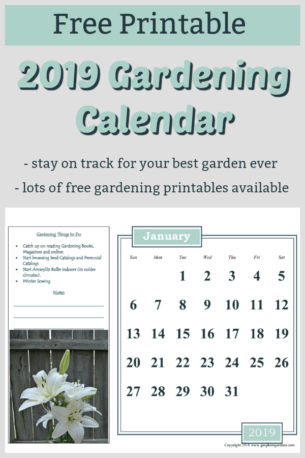 photograph regarding Free Printable Garden Planner referred to as 2019 Gardening Calendar - Gingham Gardens