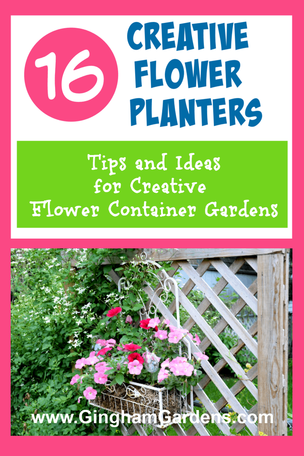 Image of a Flower Garden with Text Overlay - 16 Creative Flower Planters