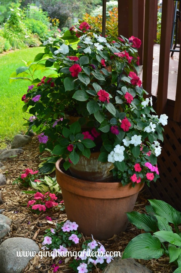 Shade Garden Tipsy Pots with Impatiens