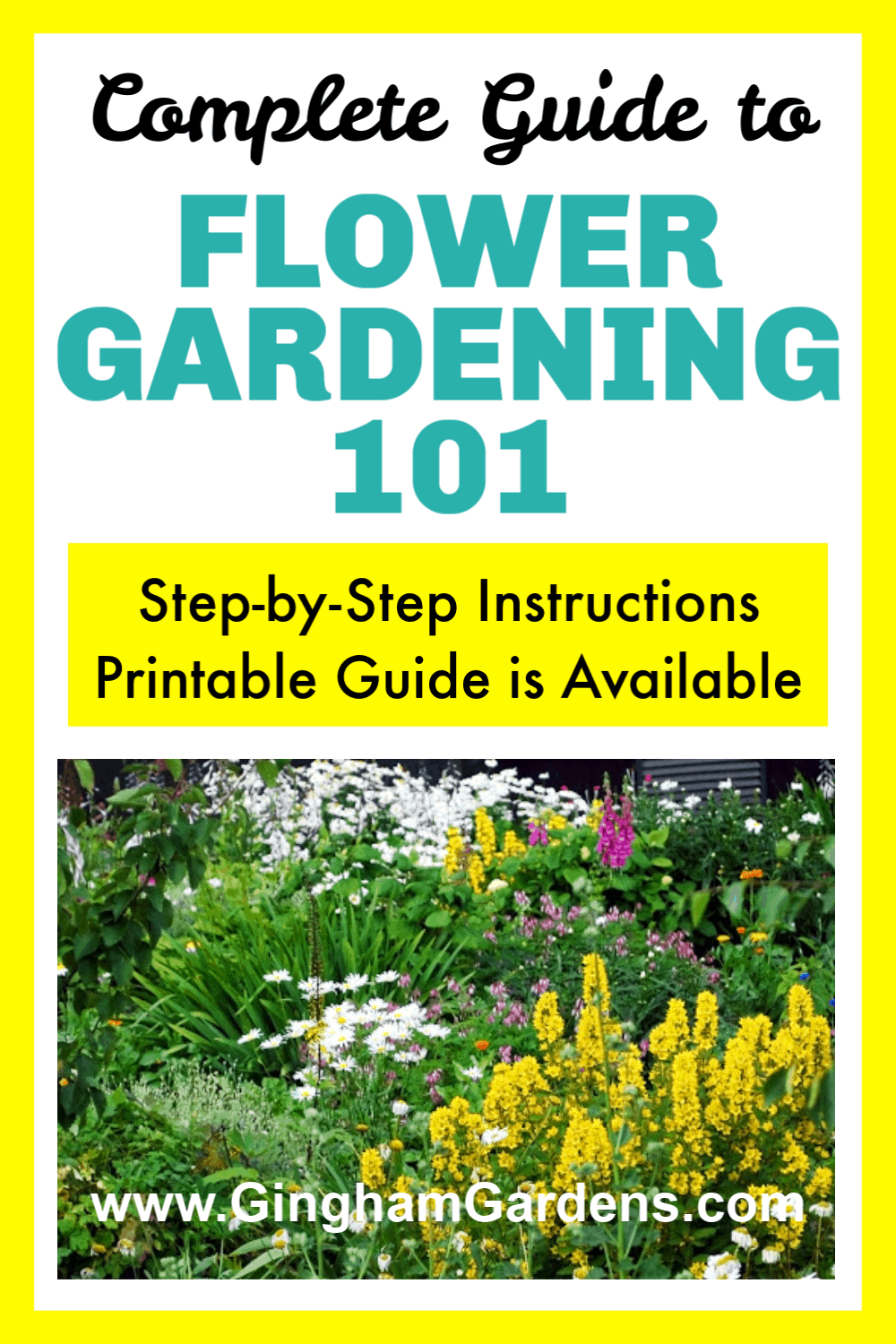 Flower Garden with Text Overlay - Flower Gardening 101