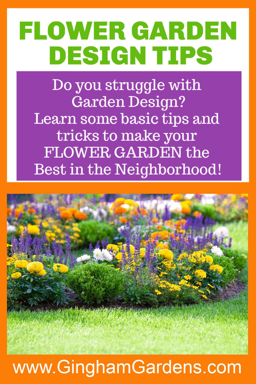 Image of a Flower Garden with Text Overlay - Flower Garden Design Tips