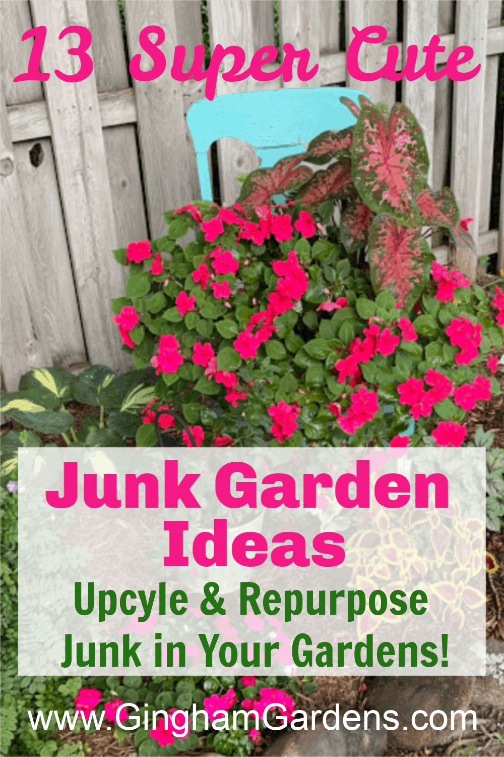 Image of old chair used as a flower planter with text overlay - Junk Garden Ideas