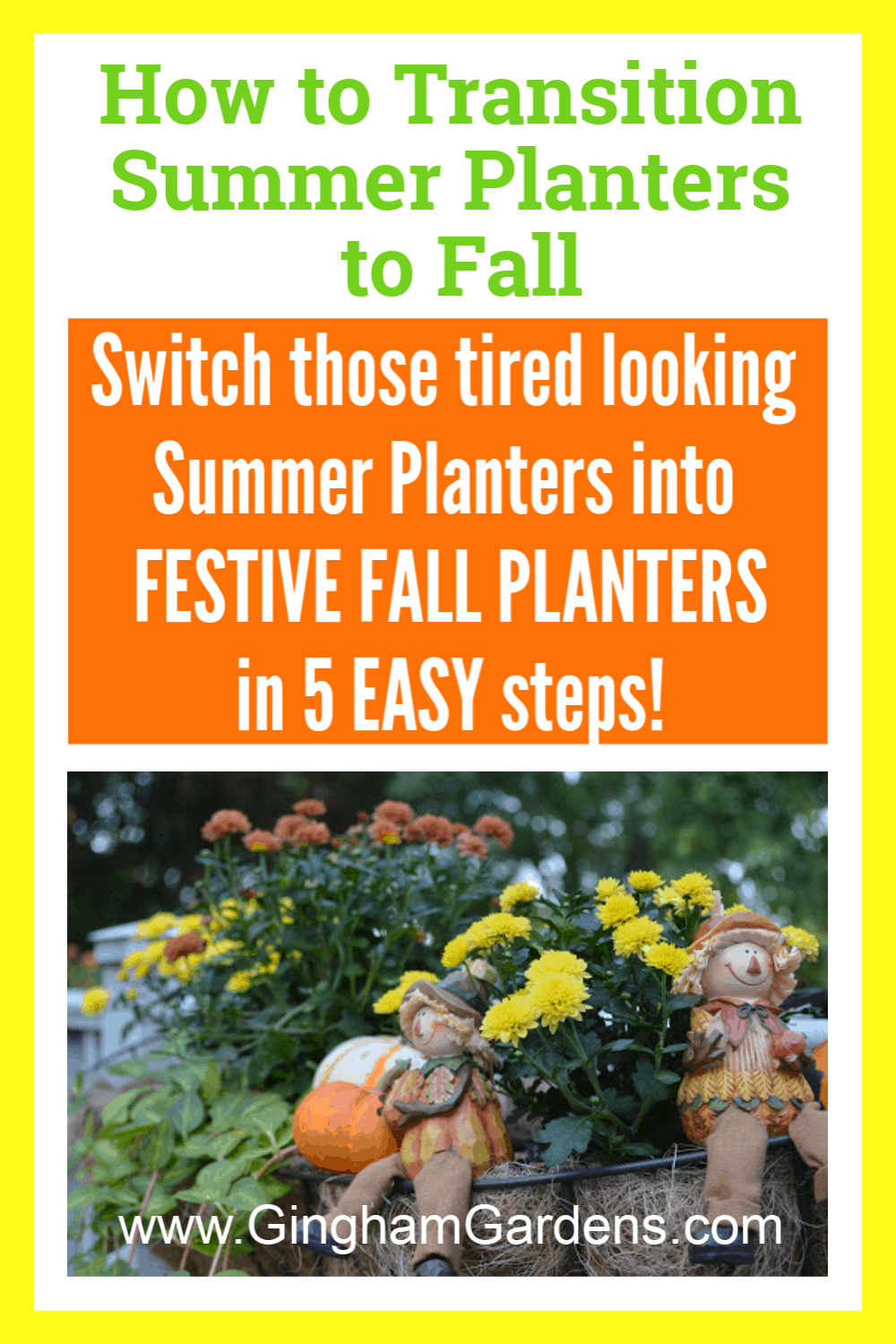 Image of Fall Flower Planter with text overlay - How to Transition summer planters to fall