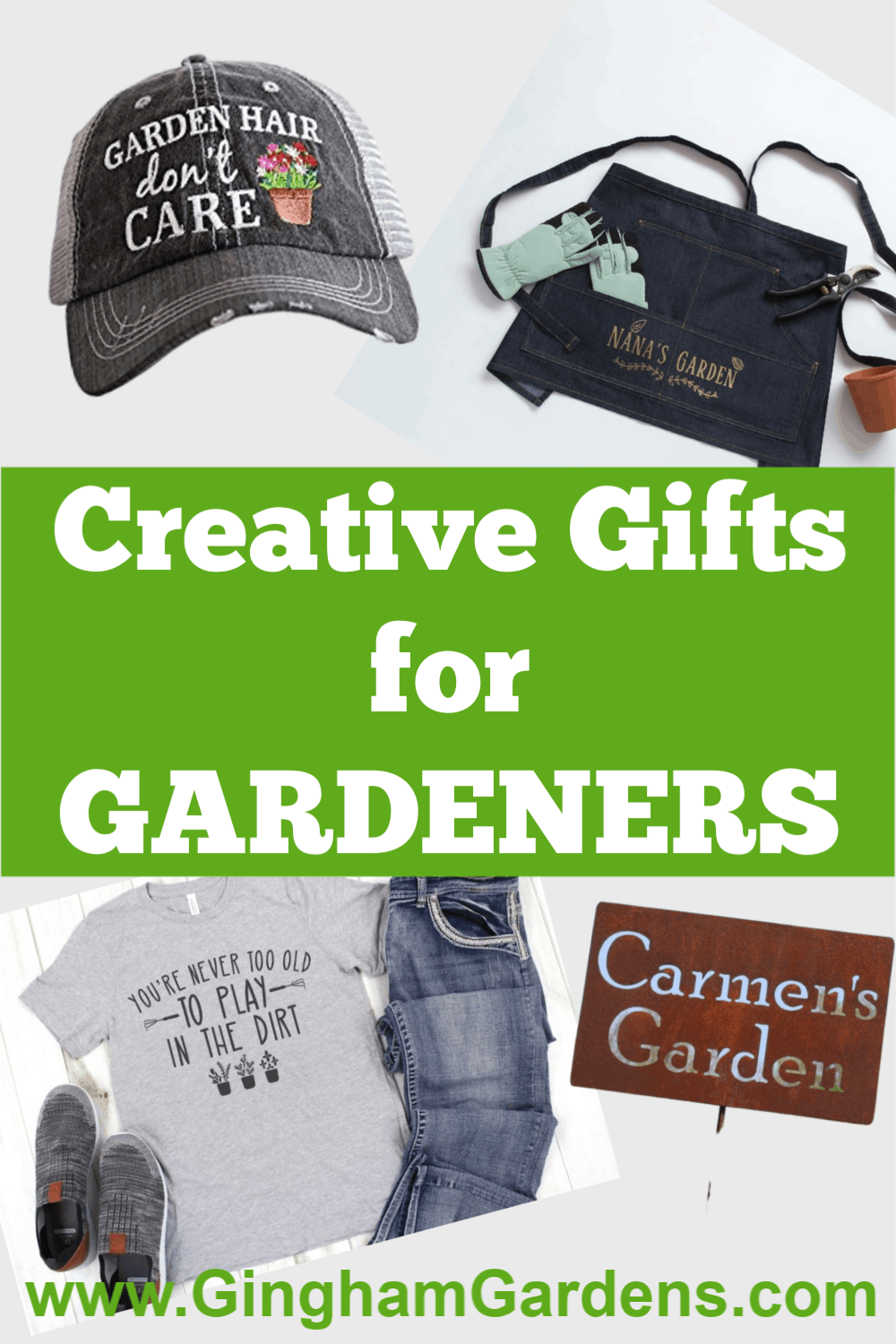 Images of Gifts with text overlay - Creative Gifts for Gardeners
