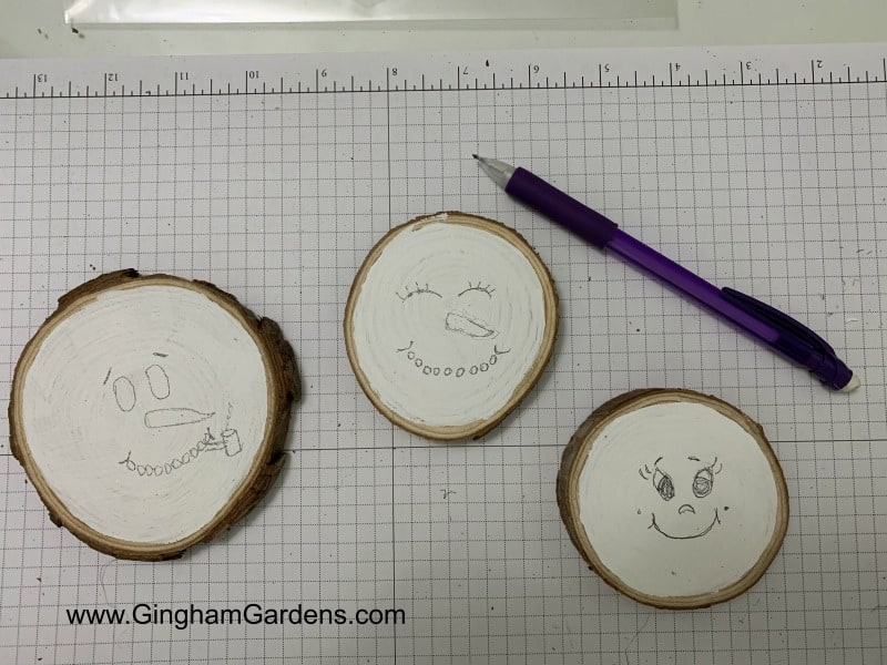 Snowman Faces for DIY Project with Wood Slices