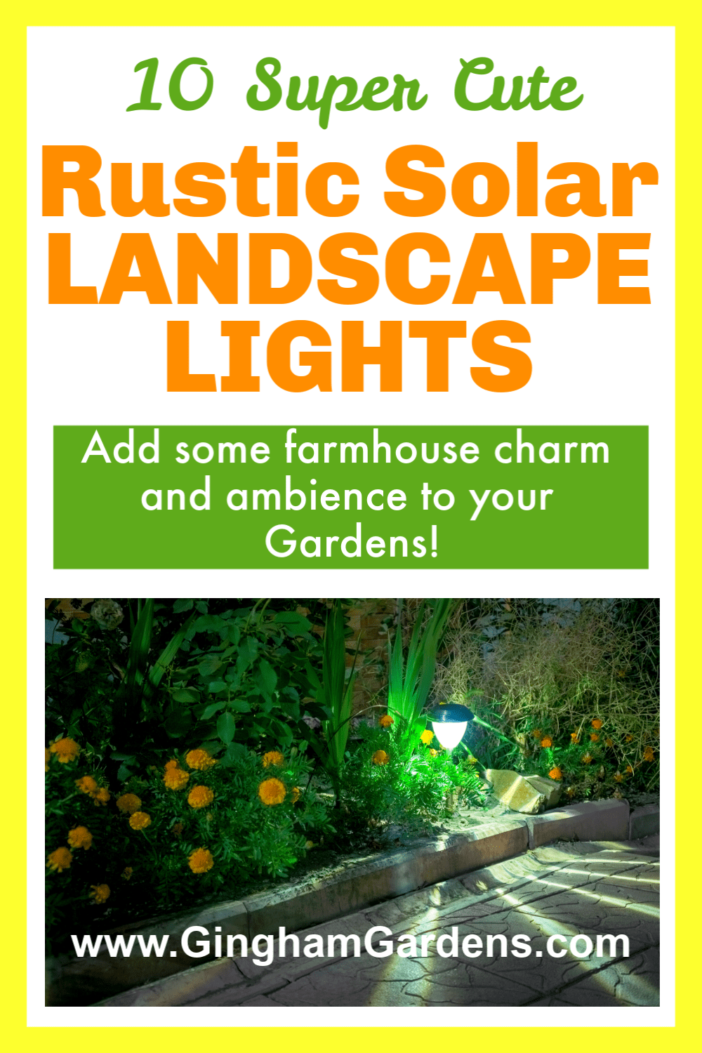 Image of garden with landscape with text overlay - Rustic Solar Landscape Lights