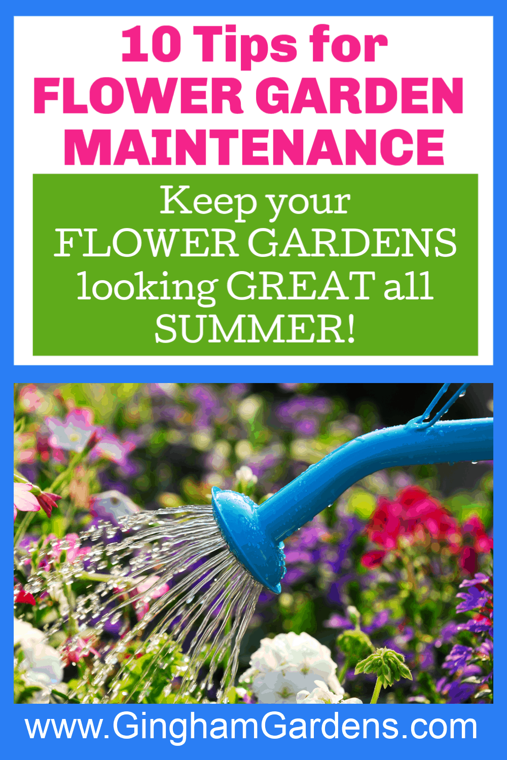 Image of Watering Can with Text Overlay - Flower Garden Maintenance