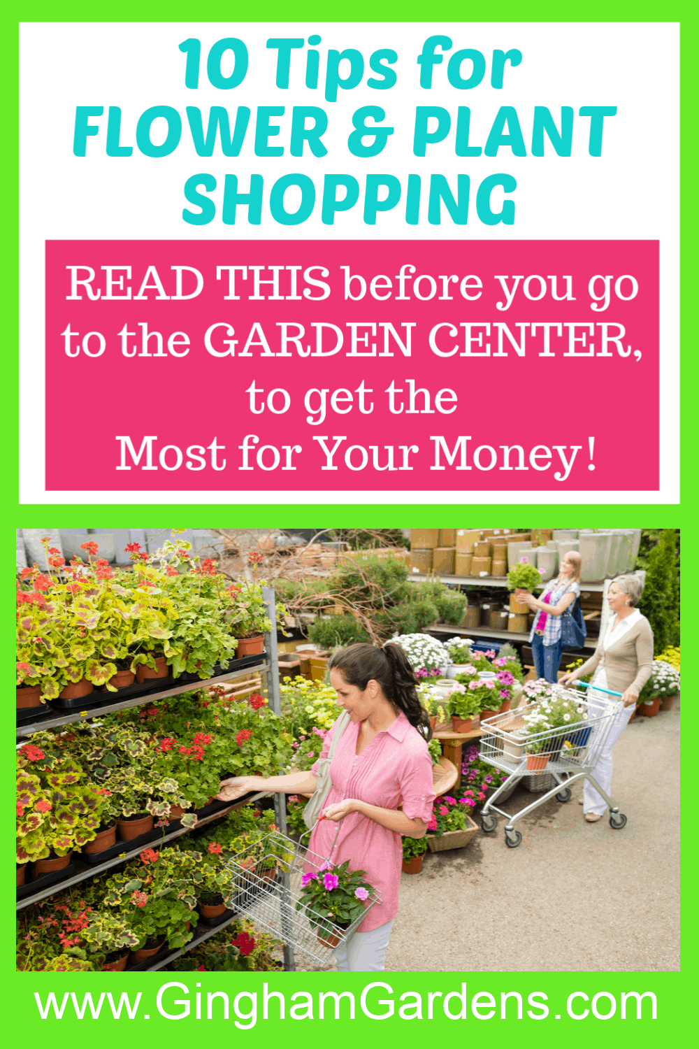 Image of Garden Center with Text Overlay - 10 Tips for Flower and Plant Shopping