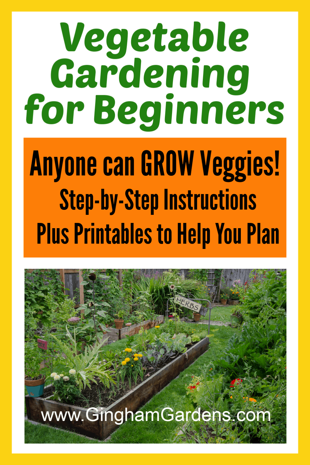Image of Garden with Text Overlay - Vegetable Gardening for Beginners