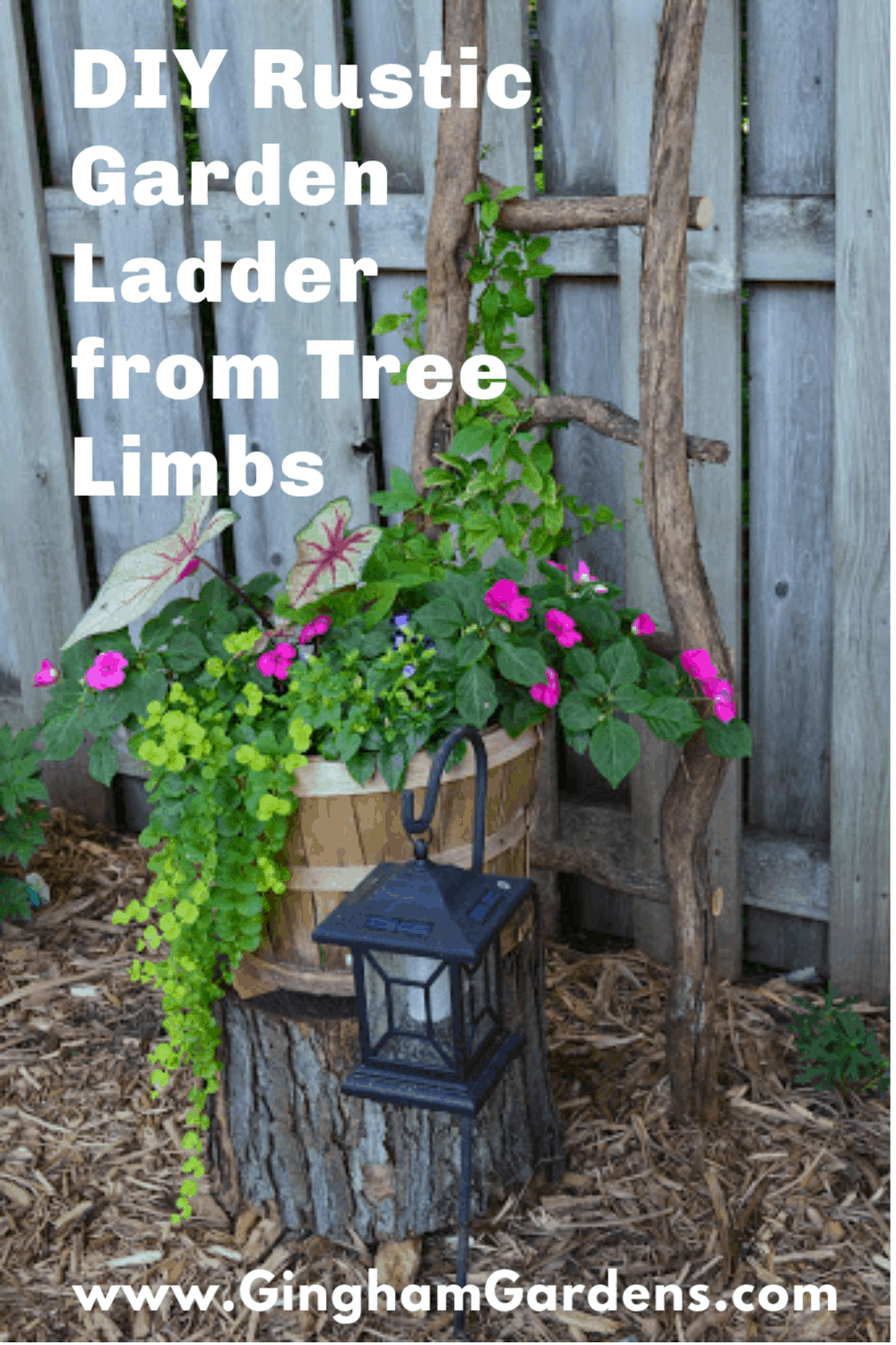 Image of a Garden Vignette with Text Overlay - DIY Rustic Garden Ladder from Tree Branches