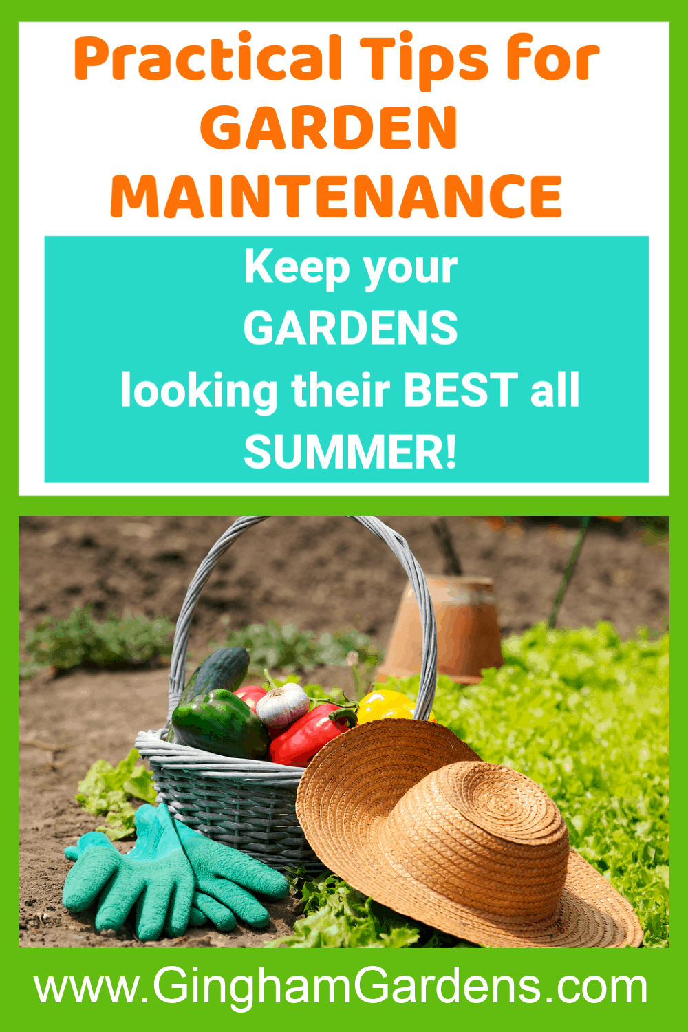 Image of Gardening Stuff with text overlay - Practical Tips for Garden Maintenance