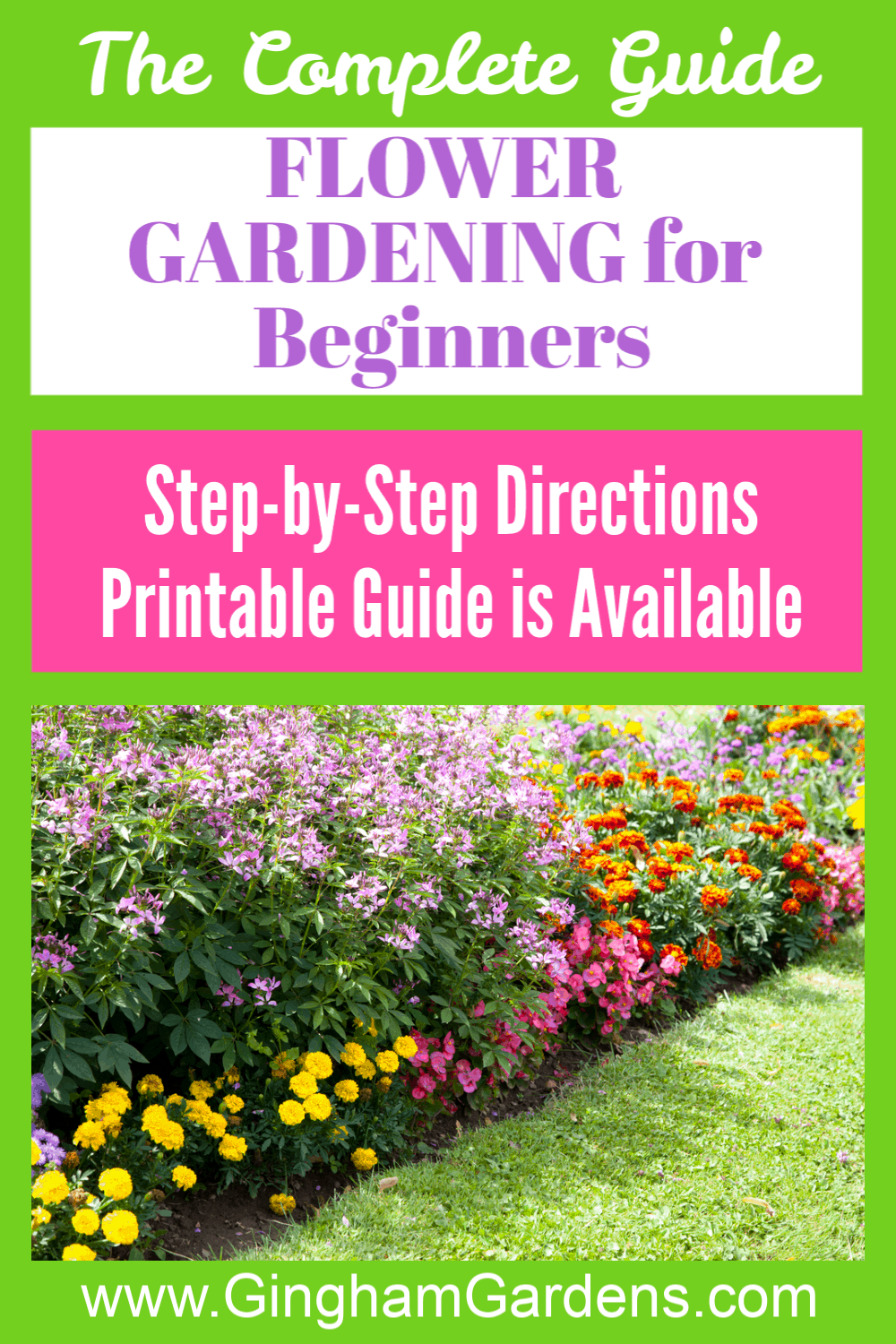 Image of a Flower Garden with Text Overlay - Flower Gardening 101