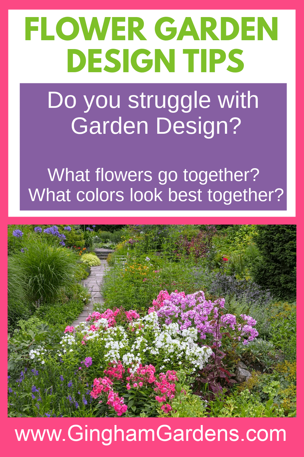 Image of Flower Garden with Text Overlay - Flower Garden Design Tips