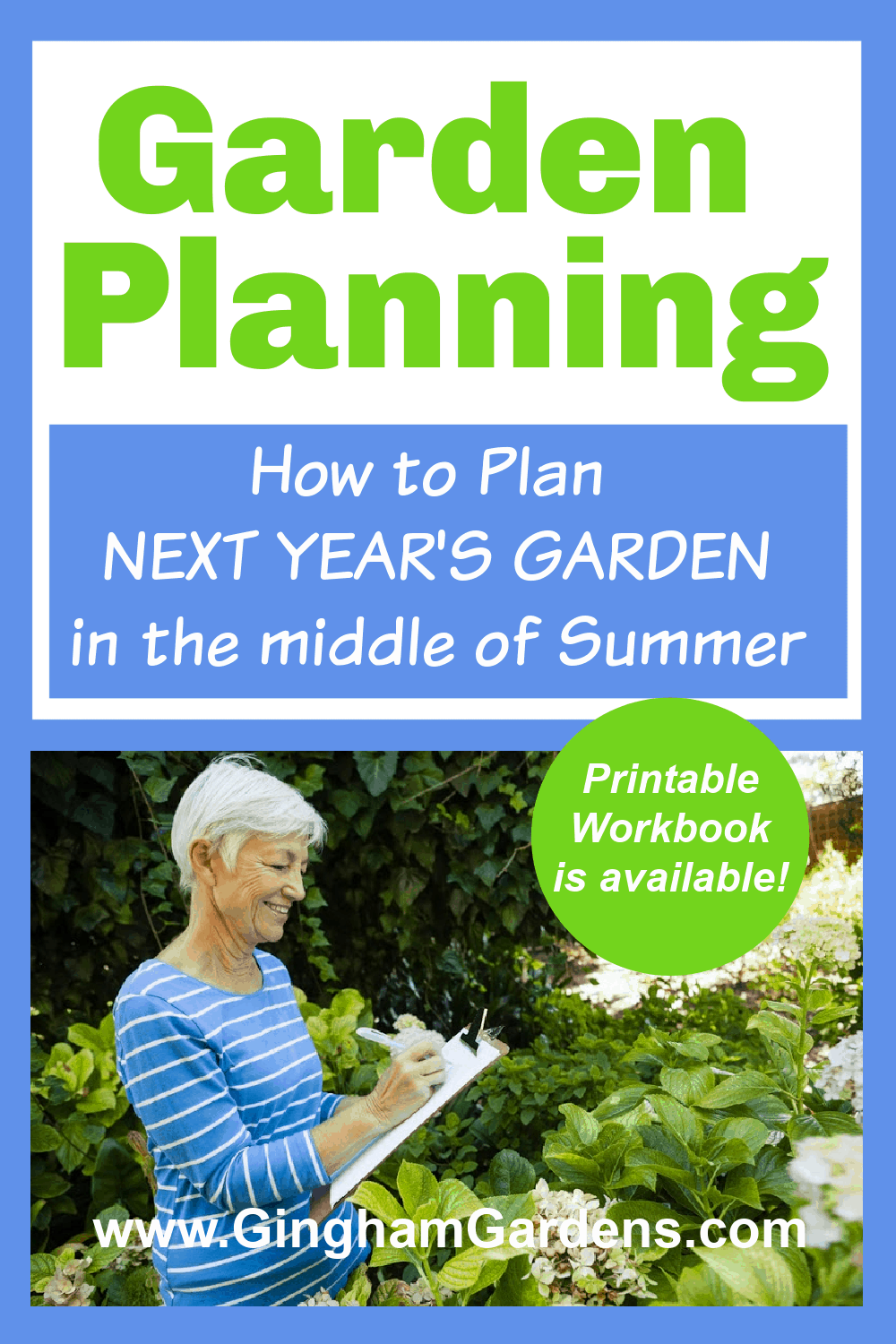 Image of a Gardener with a Clipboard with text overlay - Garden Planning