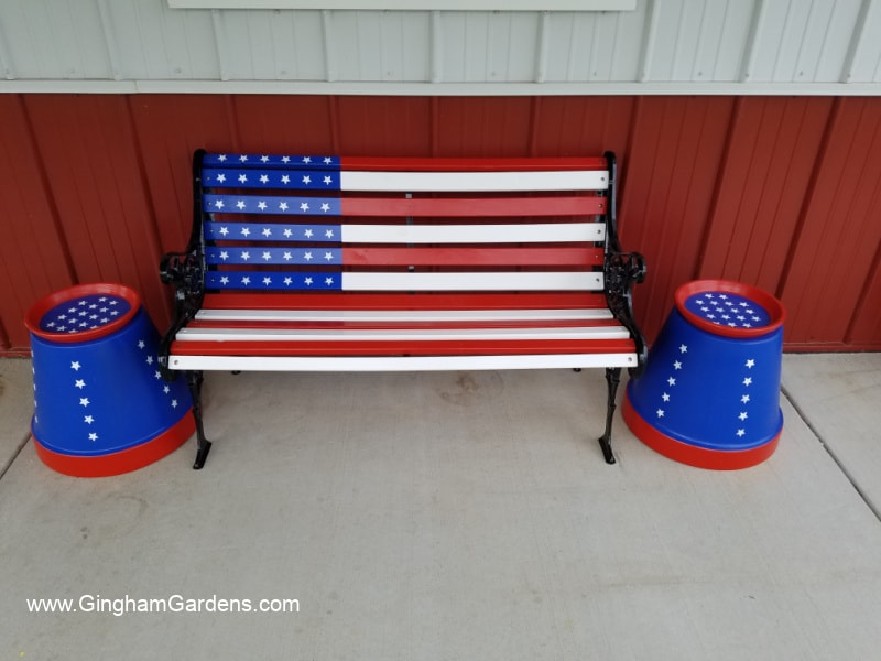 Image of DIY Patriotic bench and clay pot tables
