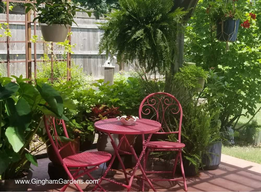 Image of Bistro Set in a Garden Setting