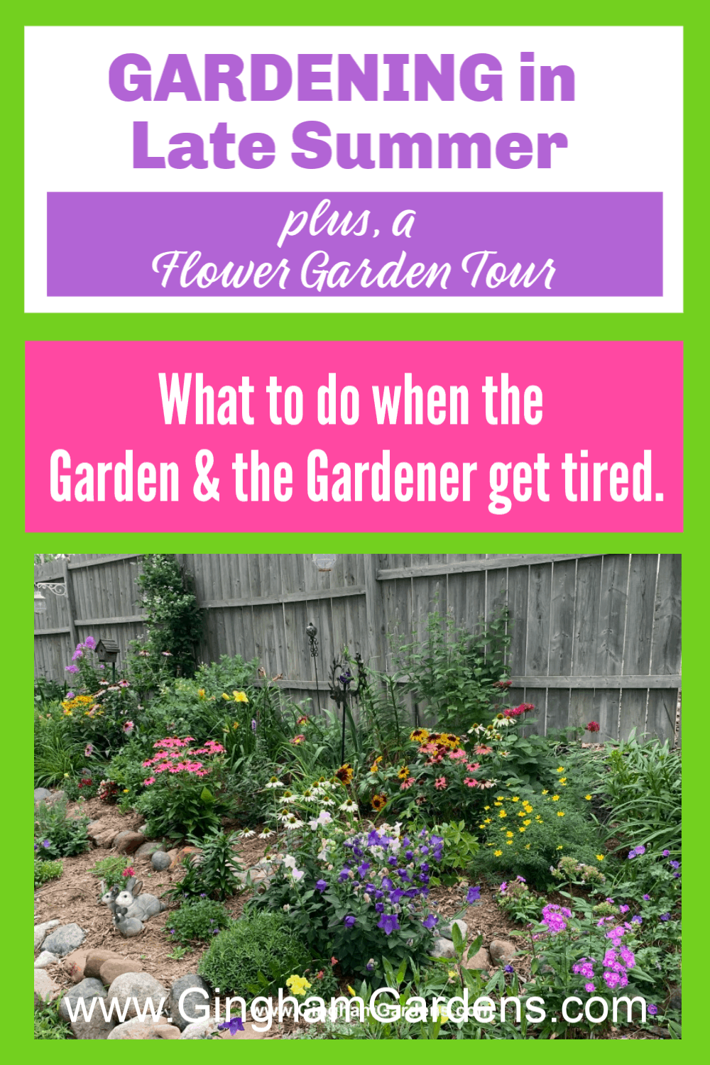 Image of a Flower Garden with text overlay - Tips for Gardening in Late Summer