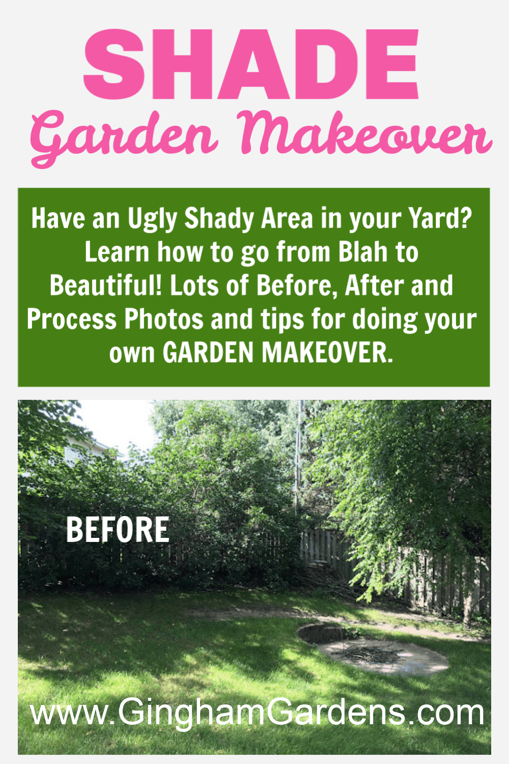 Image of Shady Yard with Text Overlay - Shade Garden Makeover