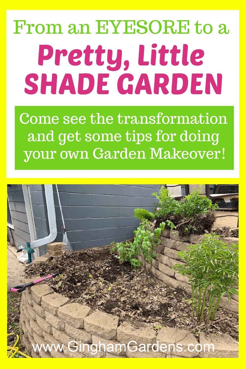 Image of a garden project with text overlay - From an eyesore to a pretty little shade garden