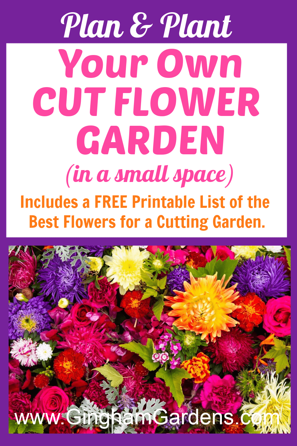Image of Flowers with Text Overlay - Plan & Plant Your Own Cut Flower Garden