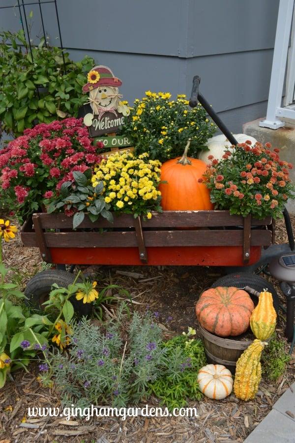 Image of a fall garden wagon display