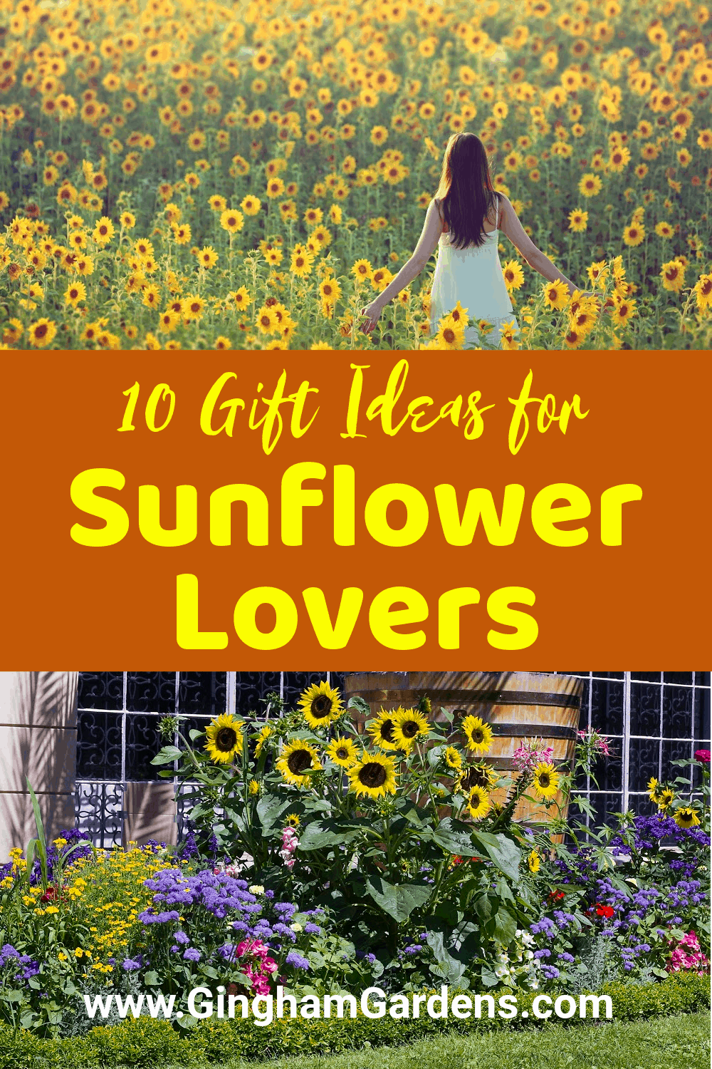 Images of Sunflower Gardens with Text Overlay - 10 Gift Ideas for Sunflower Lovers