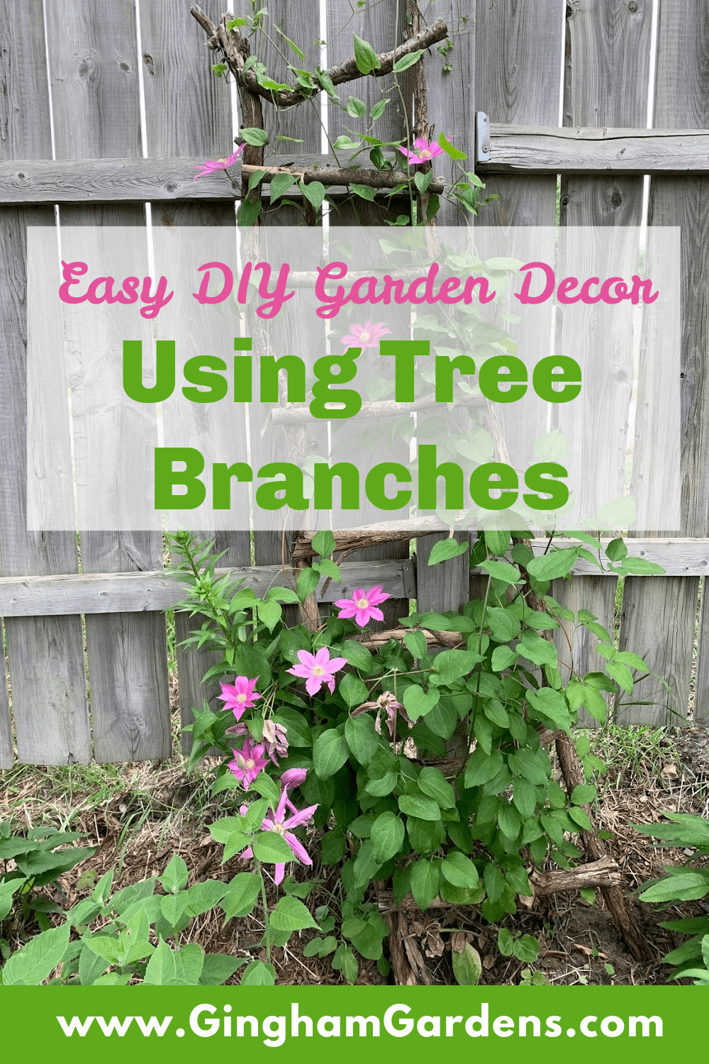 Image of a Tree Branch Ladder with Text Overlay - Easy DIY Garden Decor Using Tree Branches