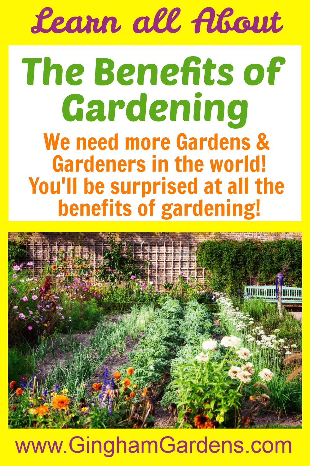 Image of a Garden with Text Overlay The Benefits of Gardening