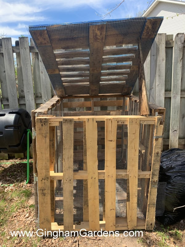 Image of a compost bin made from pallets