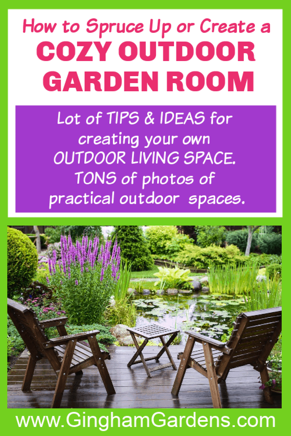 Image of a Garden Room with text overlay - How to spruce up or create a cozy outdoor garden room