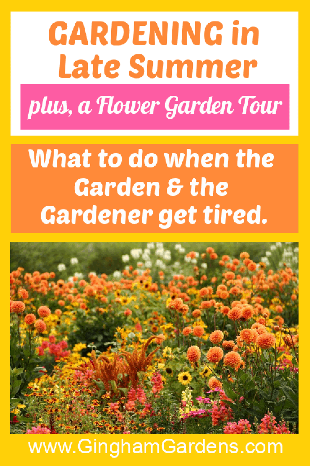 Image of a Flower Garden with Text Overlay - Gardening in Late Summer