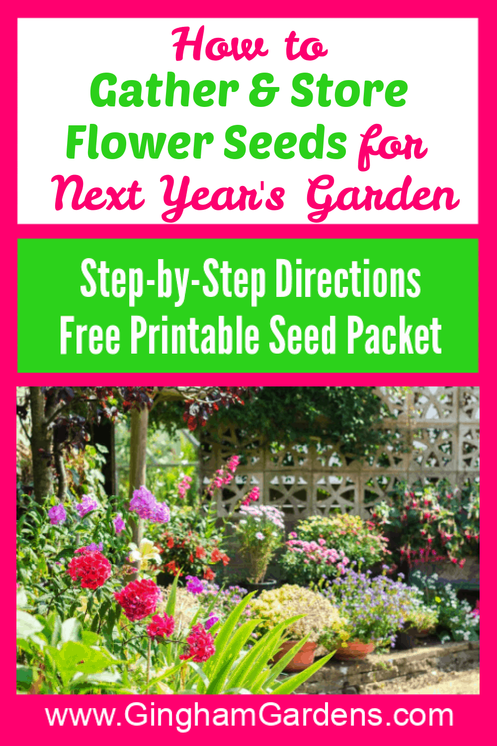 Image of Flower Garden with Text Overlay - How to Gather & Store Flower Seeds for Next Year's Garden