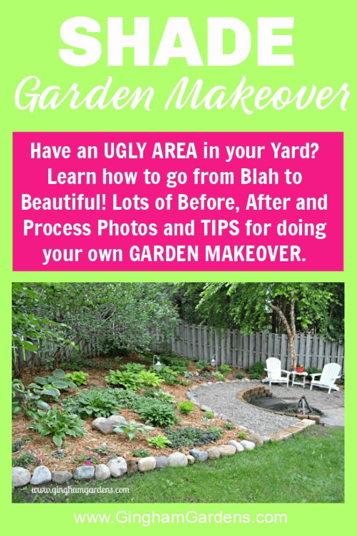 Image of a Shade Garden with text overlay - Shade Garden Makeover