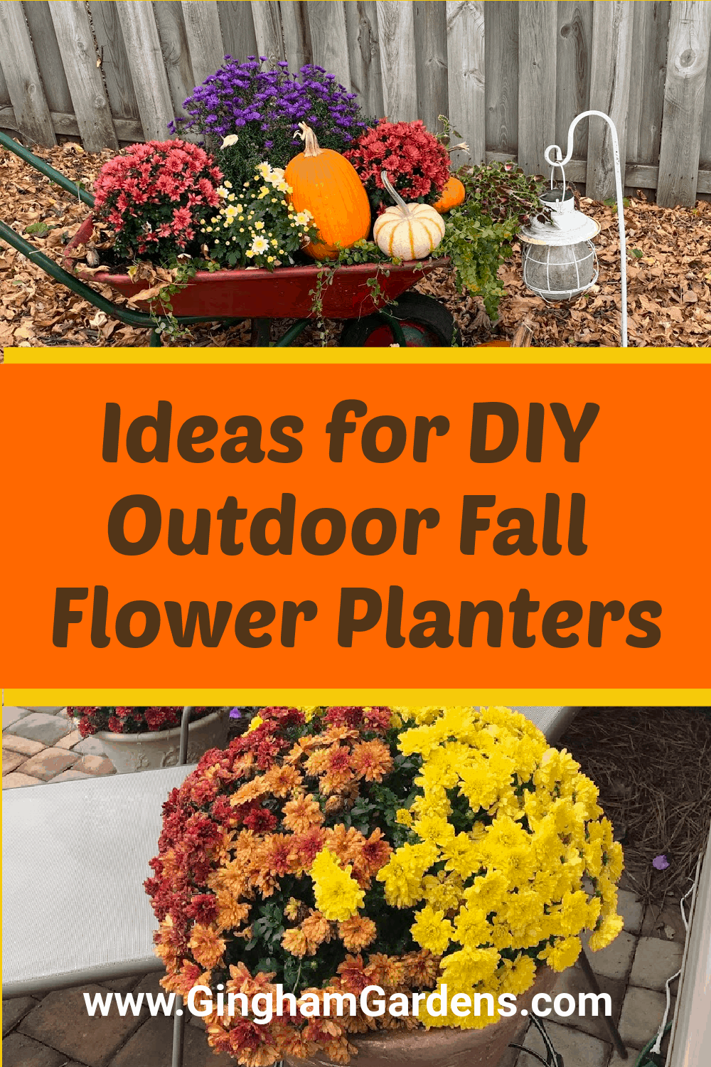Images of fall gardens with text overlay - Ideas for DIY Outdoor Fall Flower Planters