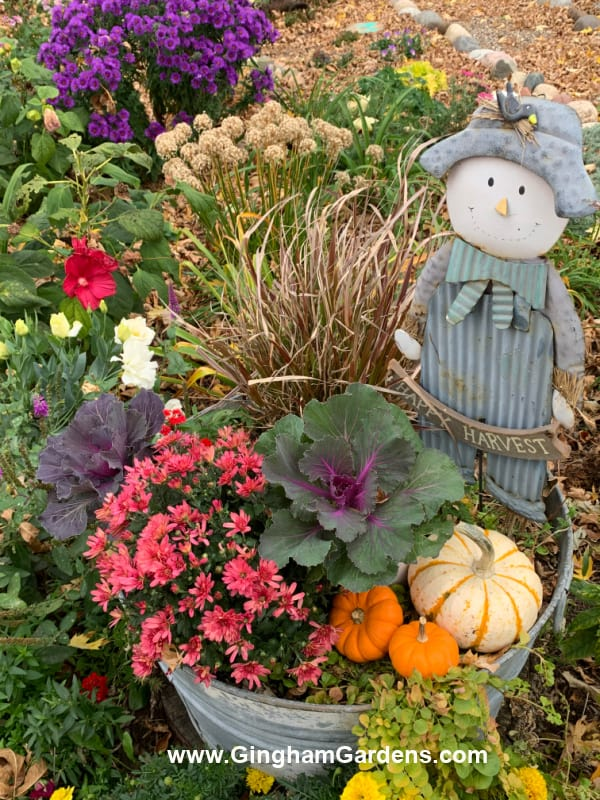 Image of a fall planter in a garden