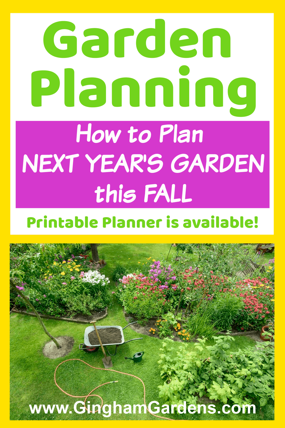 Image of a garden with text overlay - Garden Planning