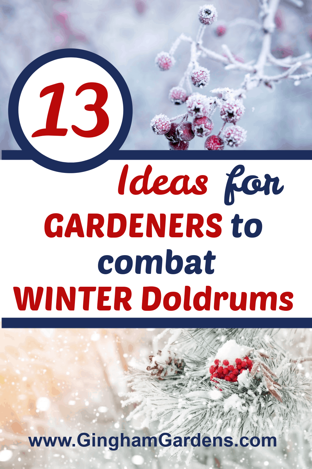 Winter Outdoor Images with Text Overlay - 13 Ideas for Gardeners to combat Winter Doldrums