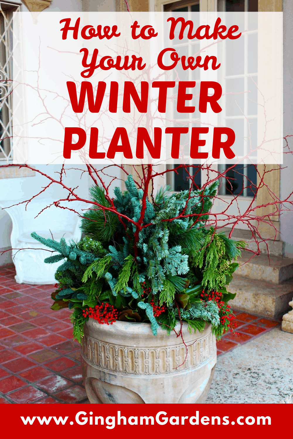 Image of a Winter with Text Overlay - How to Make a Winter Planter