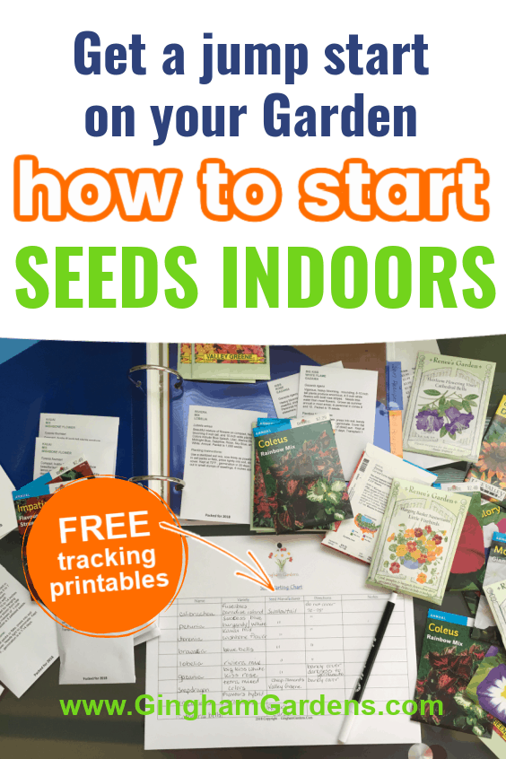 Image of a Garden Planner Page and Seed Packets with Text Overlay - How to Start Seeds Indoors