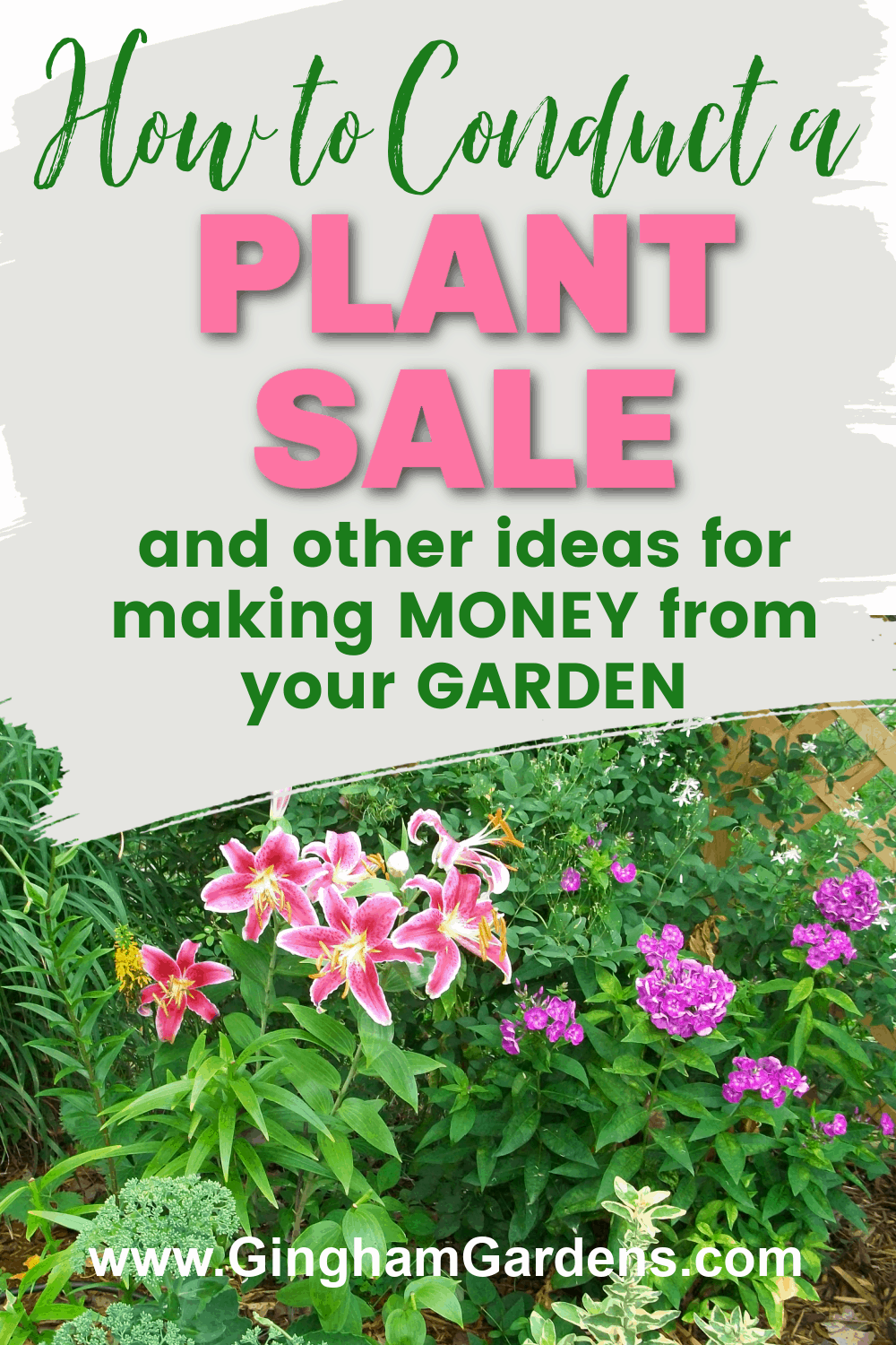 Image of a Flower Garden with Text Overlay - How to Conduct a Plant Sale